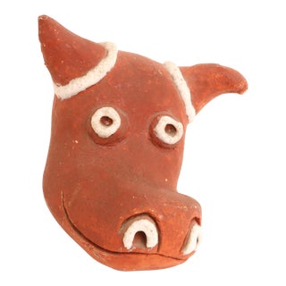 Folk Art Mid-Century Modern Handmade Studio Pottery Bull