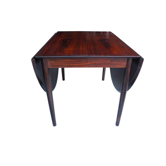 Mid-Century Modern Danish Modern Drop Leaf Solid Rosewood Dining Table by Henry Rosengren Hansen For Sale - Image 3 of 10