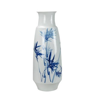Blue and White Bamboo and Two Birds Porcelain Vase For Sale