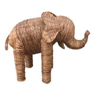 Boho Chic Wicker Elephant For Sale