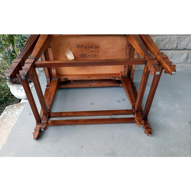 Vintage Heritage Furniture Cherry Nesting Tables With Curly Burl Wood Banding, 2 Pieces For Sale - Image 10 of 13