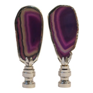 Deep Purple Amethyst Agate Finials in Sterling Silver, by C. Damien Fox a Pair. For Sale