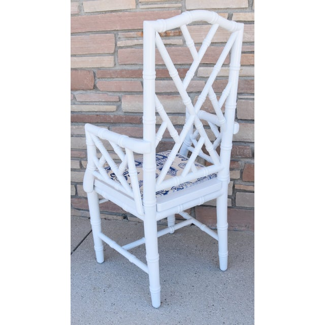 1950s Chinoiserie Faux-Bamboo Chippendale-Style Dinning Armchairs - Set of 6 For Sale - Image 11 of 13