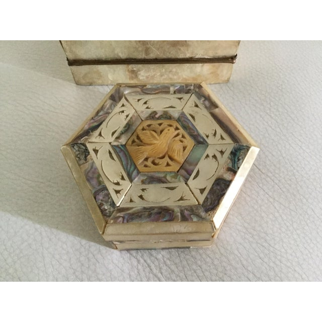 Boho Chic Mother-of-Pearl & Capiz Inlaid Boxes - A Pair For Sale - Image 3 of 6