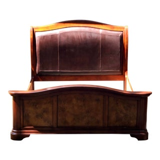 Italian Burl Wood & Leather Upholstered Sleigh Bedframe in the Style of Ralph Lauren For Sale