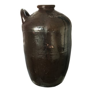 Monumental Antique Chinese 19th Century Stoneware Vessel With Handle For Sale
