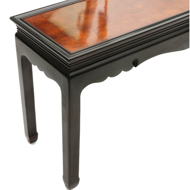 Asian Asian Oriental Burlwood Console Table For Sale - Image 3 of 10