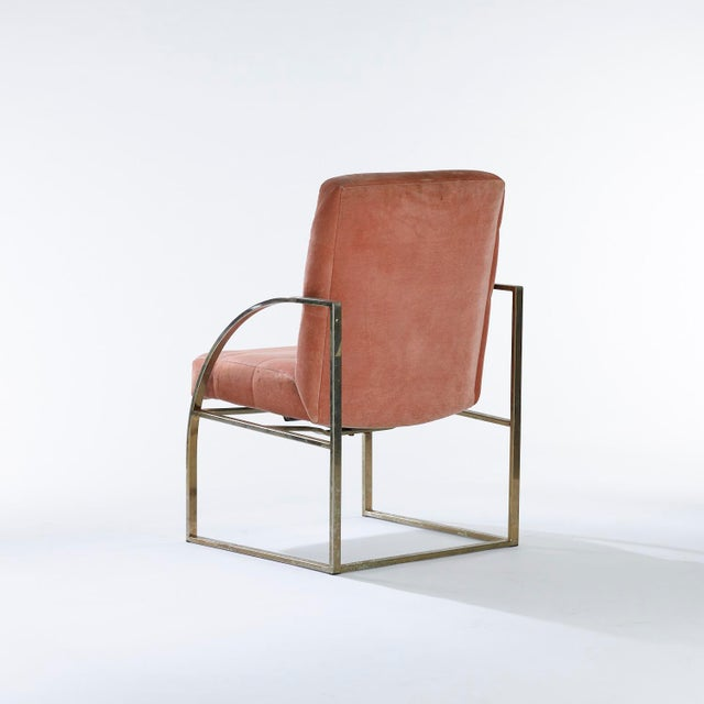 Mid-Century Modern 1970s Vintage Brass Upholstered Milo Baughman for Thayer Coggin Chairs- Set of 4 For Sale - Image 3 of 7