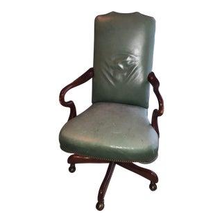 Dark Green Leather Rolling Desk Chair