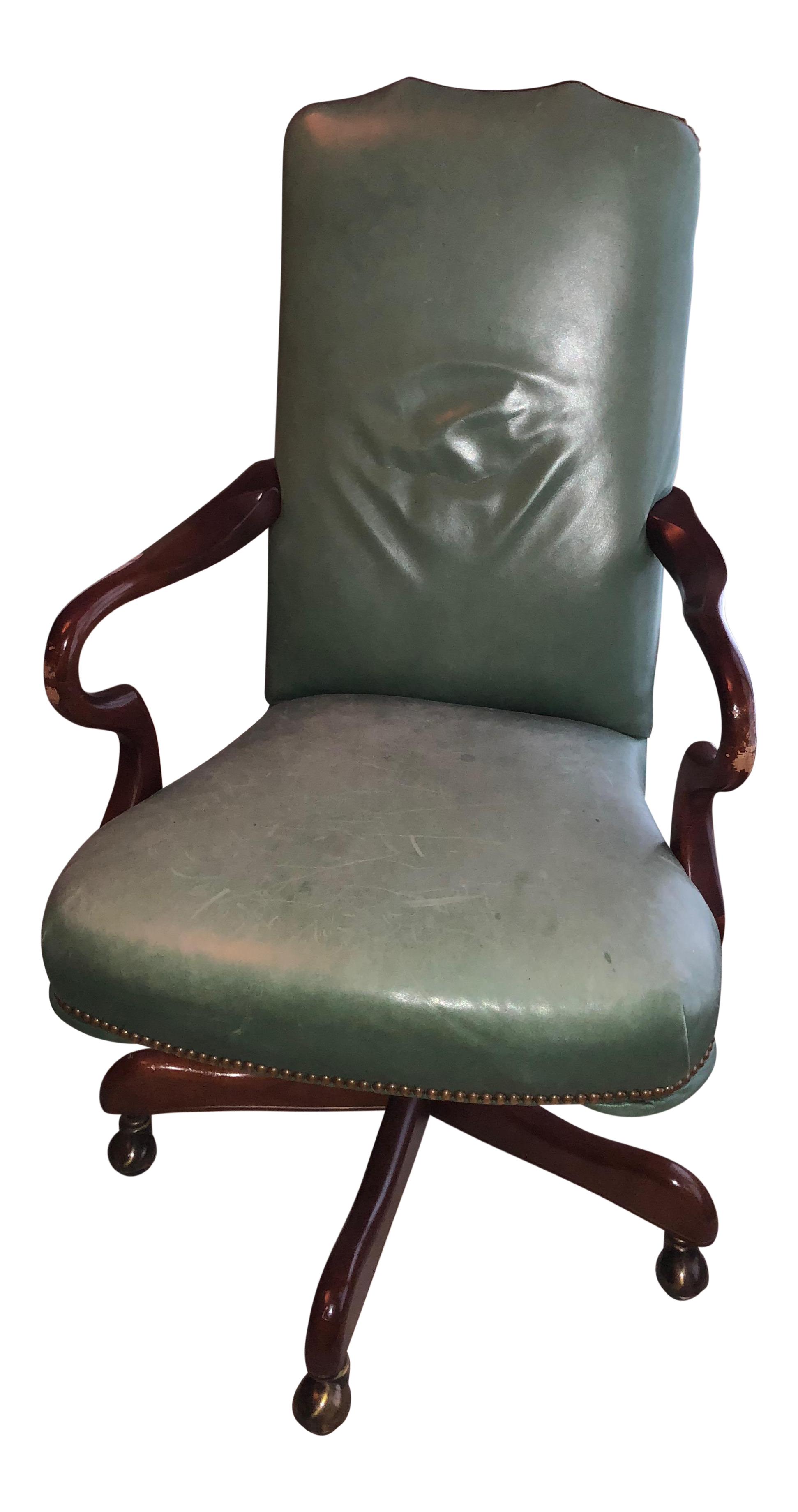 Charming Dark Green Leather Rolling Desk Chair   Image 1 Of 9