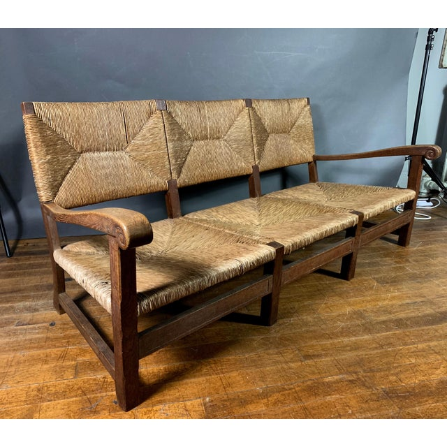 Large 1940s Continental Woven Rush 3-Seat Settee For Sale - Image 13 of 13
