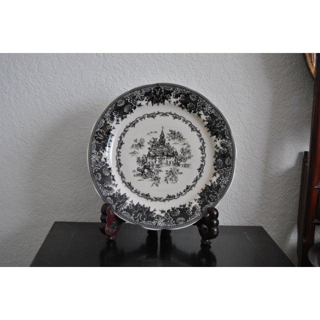 Americana Toile Black Staffordshire Plate, Equestrian Trasferware Tabletop Platter For Sale - Image 3 of 7