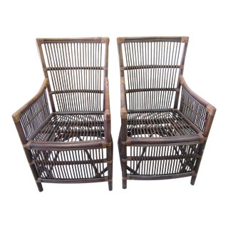 Rattan Occasional Arm Chairs - a Pair For Sale