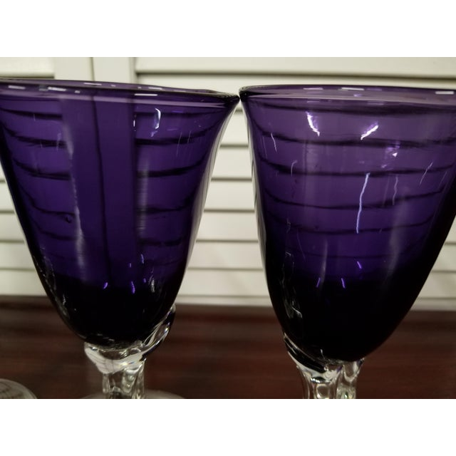 2000s Purple Beverage Glasses- Set of 4 For Sale - Image 5 of 6