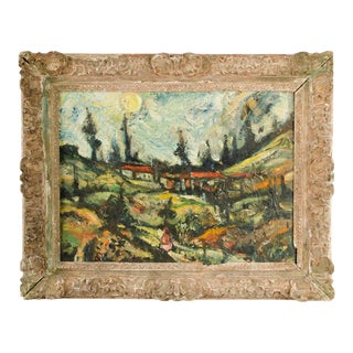 """Mid 20th Century """"Sunday Stroll Home"""" Landscape Oil Painting, Framed For Sale"""