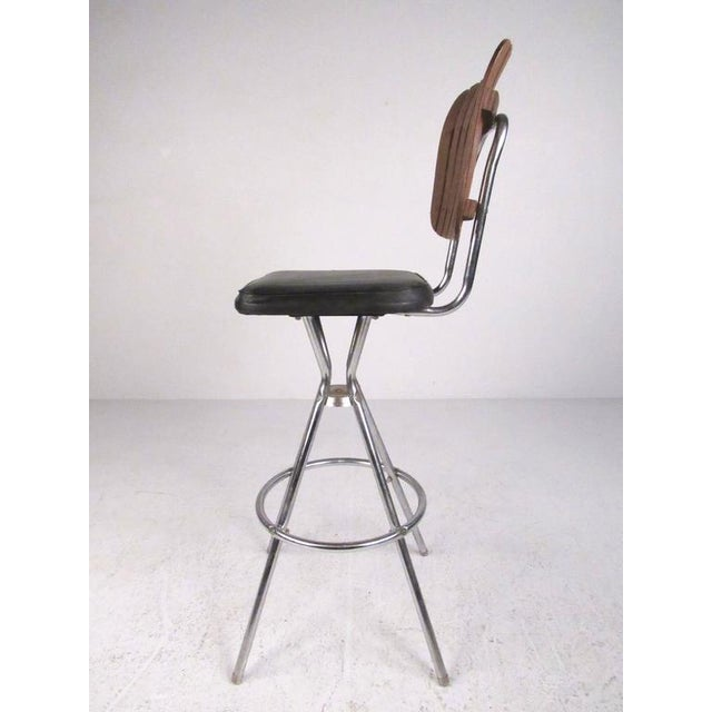 Mid-Century Modern Slat Back Swivel Bar Stools - A Pair For Sale - Image 10 of 11
