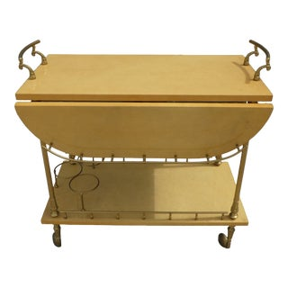 Mid Century Modern Aldo Tura Goatskin Tea Cart For Sale