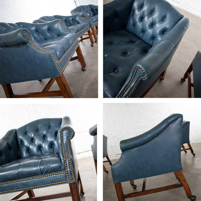 Blue Vinyl Faux Leather Chinese Chippendale Tub Style Rolling Game Chairs Set of Four For Sale - Image 9 of 13