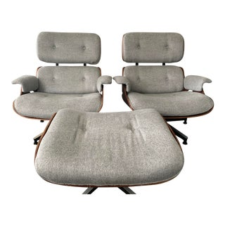 Vintage Charles Eames Lounge Chairs and Ottoman- 3 Pieces For Sale