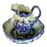 Image of Vintage Scenic Blue and White Porcelain Pitcher and Basin For Sale