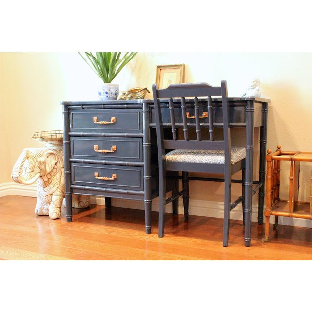 Henry Link Bali Hai Faux Bamboo Desk and Chair Set For Sale - Image 9 of 11