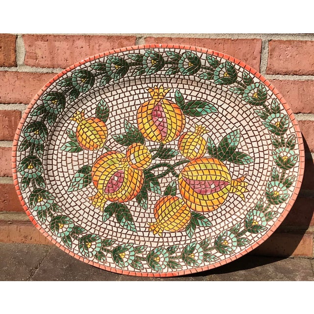 Green Vintage Italian Mosaic Design Serving Platter / Wall Art For Sale - Image 8 of 8