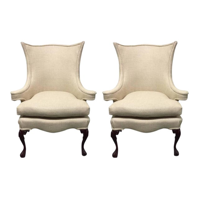 Pair of Queen Anne Style Wingback Chairs For Sale
