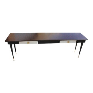 1940s French Art Deco Macassar Ebony With Parchment Drawer Console Table For Sale