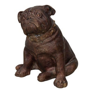 Charming Bronze Bulldog Sculpture