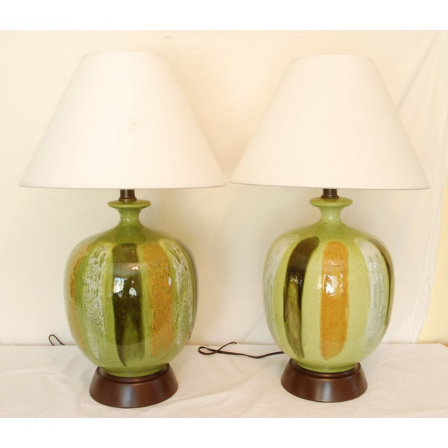 Mid-Century Modern Green Table Lamps - A Pair - Image 3 of 6