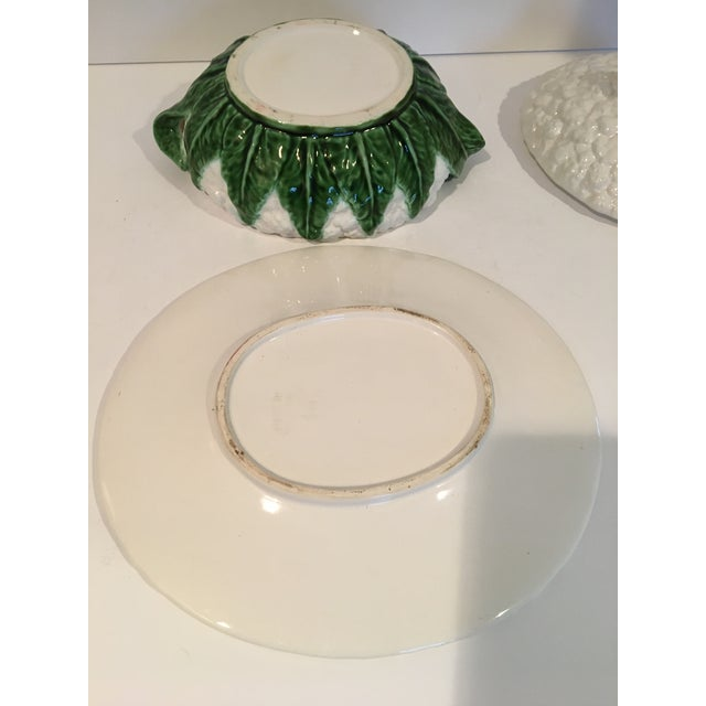 White Vintage Majolica Cauliflower Tureen Made in Portugal - 4 Piece Set For Sale - Image 8 of 13