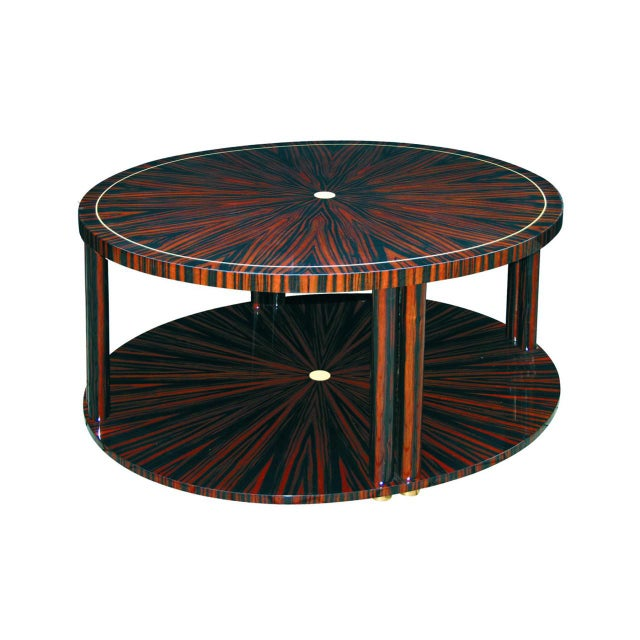 Macassar Faux ivory inlay Feet in brass or nickel cm: Dia 120 H 48 inch: Dia 47 H 19 Elaborate Art Deco coffeetable with...
