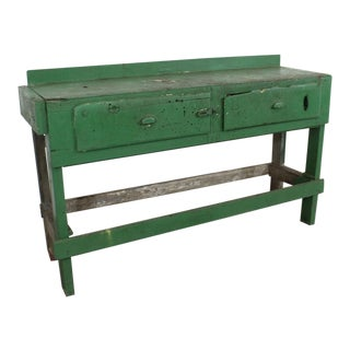 Vintage Antique Rustic Industrial Primitive Workbench Table/Island Circa 1930s For Sale