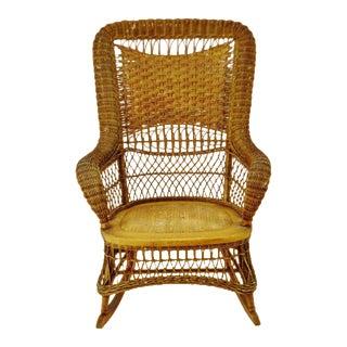 Victorian Larkin Company Wicker Rocking Chair For Sale