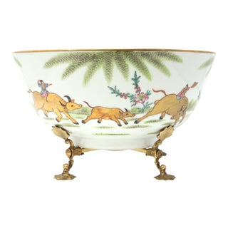 Vintage Japanese Porcelain Bowl With Gold Gilt Water Buffalo and Brass Stand