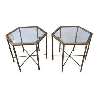 Mastercraft Mid-Century Modern Brass Faux Bamboo Drinks Tables - a Pair For Sale