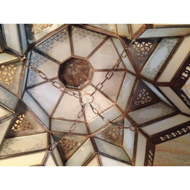 White Moroccan Moorish Star Shape Frosted Glass Light Shade For Sale - Image 8 of 10