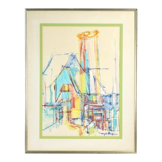 Mid-Century Modern Abstract Architectural Painting Margot Bergman Chicago For Sale