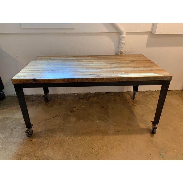 Industrial Reclaimed Wood and Metal Writing Table For Sale - Image 11 of 11