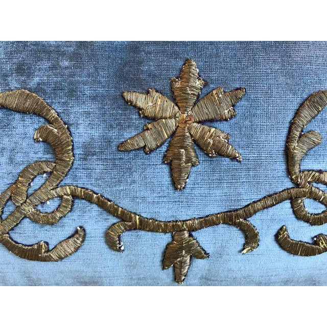 Antique Ottoman Empire raised gold metallic embroidery bordered with antique gold metallic galon on wedgewood blue velvet....