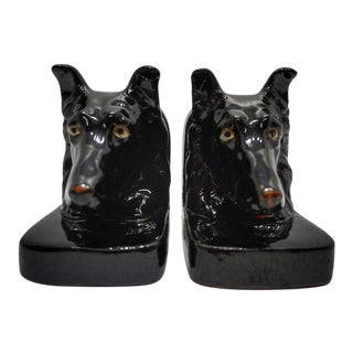 Vintage Porcelain Dog Bookends - a Pair For Sale