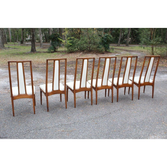 Mid-Century Modern Walnut and Cane Dining Chairs by John Stuart- Set of 6 For Sale - Image 3 of 11