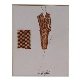 1990s Orange Woman's Fashion Suit Illustration For Sale