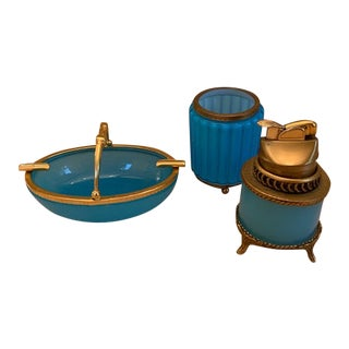 1940's Portieux Vallerysthal Blue Opaline Lighter, Holder and Ashtray Basket - 3 Pieces For Sale