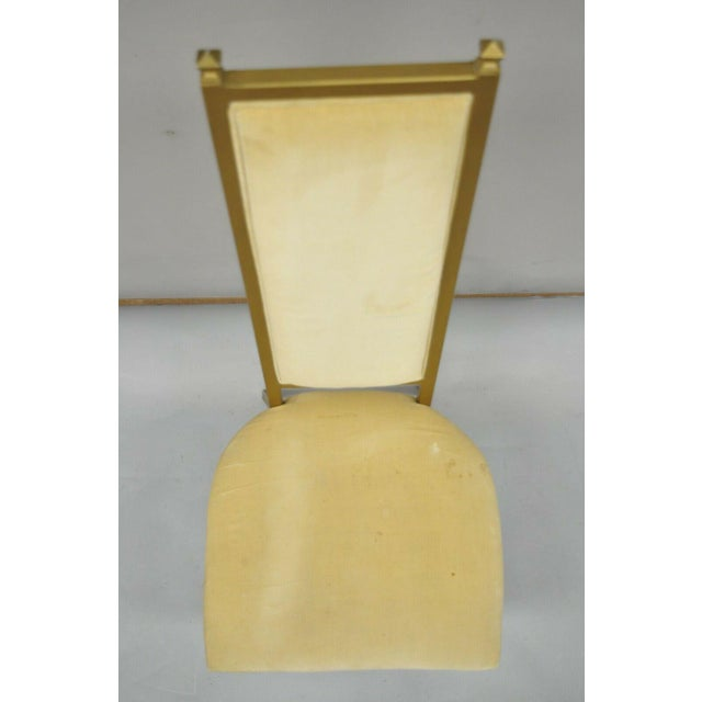 Vintage Kessler French Hollywood Regency Style Cast Metal Tall Back Side Chair For Sale In Philadelphia - Image 6 of 12