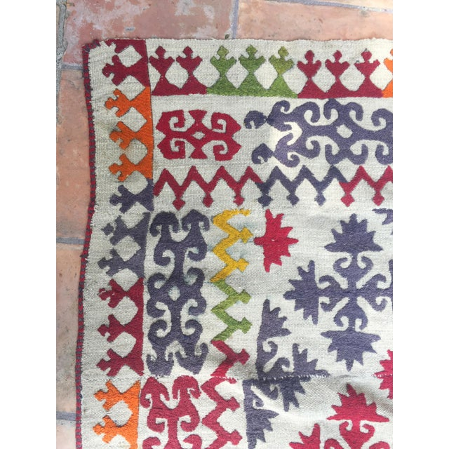 1950s Boho Chic Embroidered Kilim With Pop Colors For Sale - Image 4 of 8