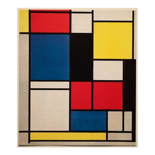 """1958 After Piet Mondrian """"Tableau 2"""" Vintage Color Print From England For Sale"""