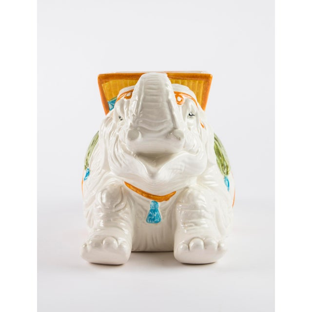 Wonderfully eye catching ceramic Italian elephant planter. 1970's vintage with hand painted details, it is in excellent...