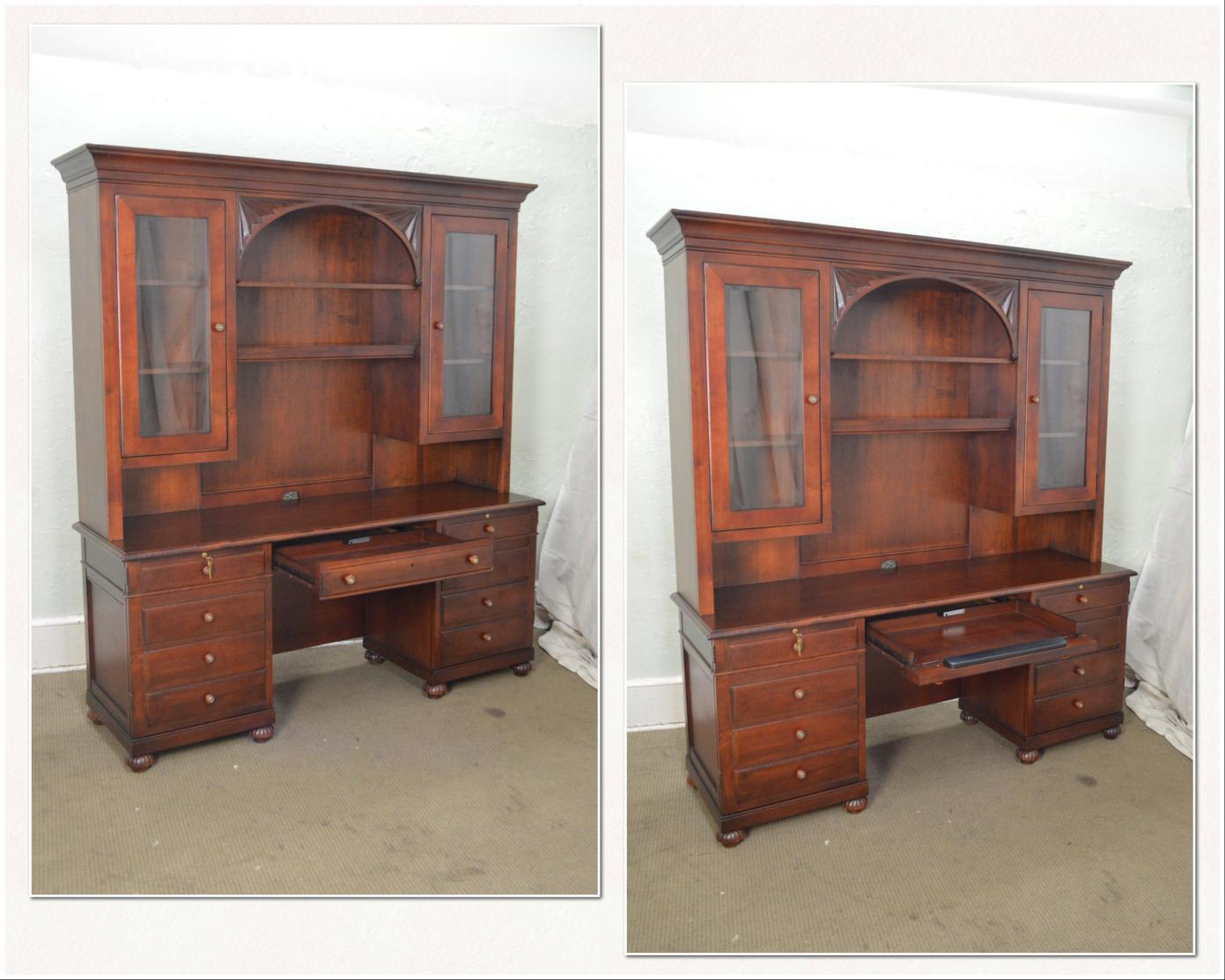 1990s Ethan Allen British Classics Office Desk Credenza W/ Hutch Top For  Sale   Image