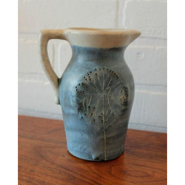 Boho Chic Mid-Century Puerto Rican Pottery Blue Studio Pottery Pitcher For Sale - Image 3 of 6